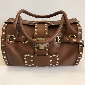 "JIMMY CHOO Tan Leather ""Rosalie"" Satchel Handbag"